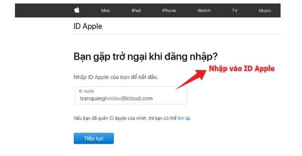 "NhậpID Apple> Nhấn ""Tiếp tục"""