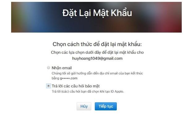 """Lựa chọn 1: Chọn """"Nhận email"""""""