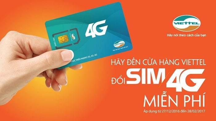 Chuyển đổi Sim 4G Viettel