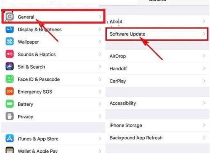 Mở Settings > General > Software Update