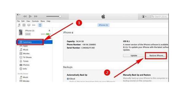 Restore lại iPhone 2