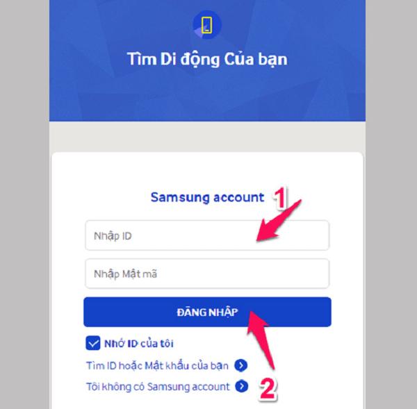 Truy cập vào trang Findmyphone chọn Đăng nhập