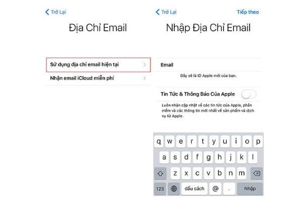 Nếu có tài khoản Email, chọn sử dụng Email hiện tại