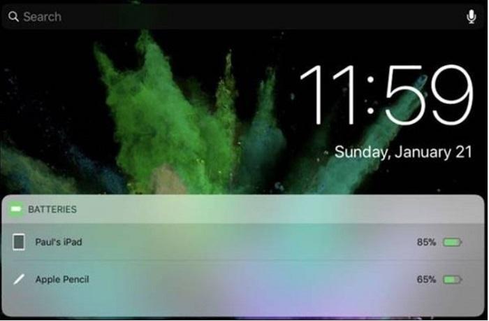 Thời lượng pin của iPad Pro và Apple Pencil được hiển thị trên màn hình