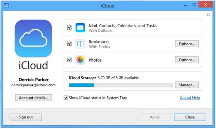 Cài đặt iCloud Control Panel cho Windows