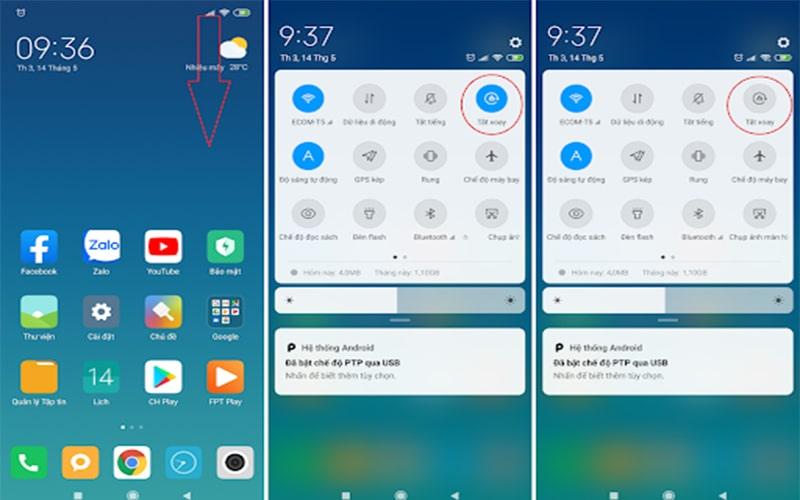 Tắt xoay màn hình điện thoại Xiaomi