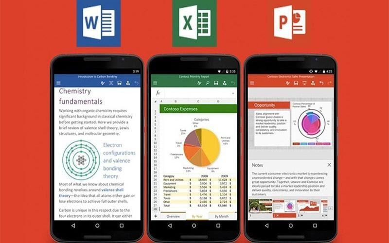 Nhiều điện thoại đã có sẵn bộ ứng dụng office cho người dùng