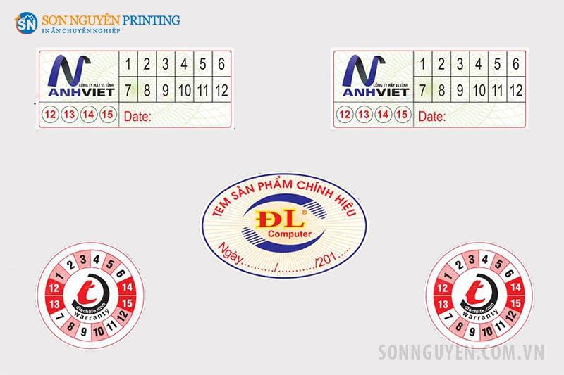 Các loại tem bảo hành giấy có tại Sơn Nguyên