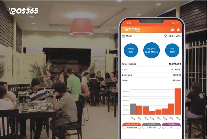 POS365 giúp theo dõi tổng quan, hoạt động nhà hàng trên điện thoại di động